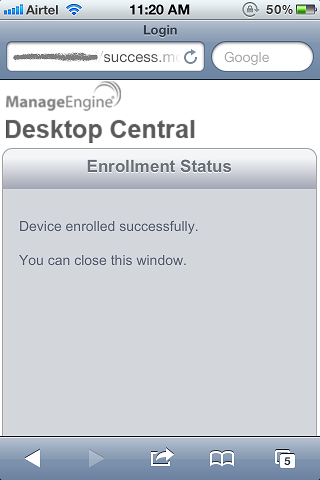 7. Click Done to view the enrollment status The device have been