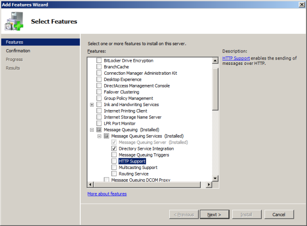 INSTALLATION GUIDE 4. On the Select Features page, expand Message Queuing, and then expand Message Queuing Services. 5.