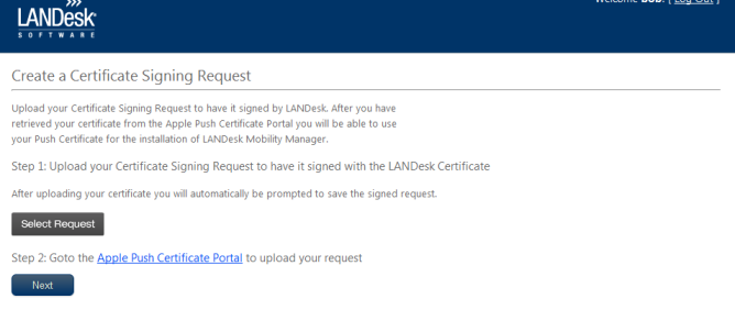 LANDESK MOBILITY MANAGER 8. Click Start > Run. a. In the Run dialog box, enter: certreq new b. Select the.inf file downloaded in the previous step c. Save the certificate signing request. 9.
