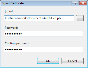 LANDESK MOBILITY MANAGER Step 4: Export the certificate To export the certificate 1.