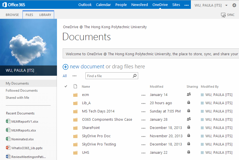 Web browser Click OneDrive on the top navigation bar, which stands for OneDrive for