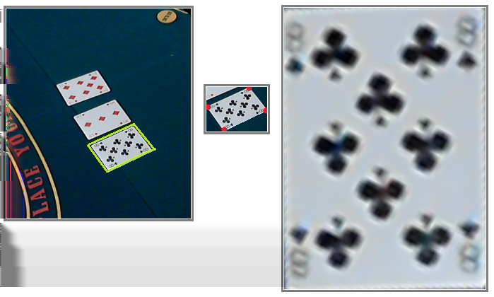 PokerVision: Perception layer for a Poker Game 3 computation is based on the position of the corners relative to each other and to the global coordinate system.