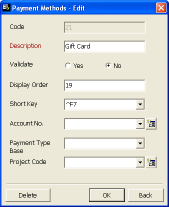 GIFT CARDS 13 3. In the grid, select the payment method with the Description Gift Card and click Edit. The Payment Methods- Edit screen appears. 4.