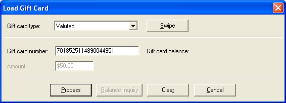 Once reactivated, you can use the load card procedures outlined below to add value to the card. Load an individual gift card 1. On the Main Menu screen, on the navigation bar, click Sales.