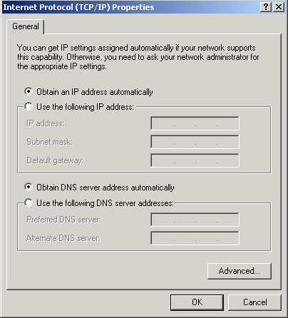 Configuring PC in Windows 2000 1. Go to Start / Settings / Control Panel. In the Control Panel, double-click Network and Dial-up Connections. 2. Double-click Local Area ( LAN ) Connection.