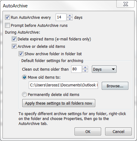 Outlook 2010 for Windows QRG: Outside the Mailbox Outlook Data Management Page 6 Clean Up by Folder 1. Click Home Clean Up drop-down arrow Clean Up Folder or Clean Up Folder and its Subfolders.