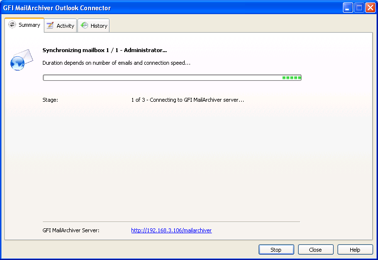 Screenshot 6 Synchronization Progress The synchronization process consists of three stages, during which GFI MailArchiver Outlook Connector: Stage 1: Connects - connects with the GFI MailArchiver