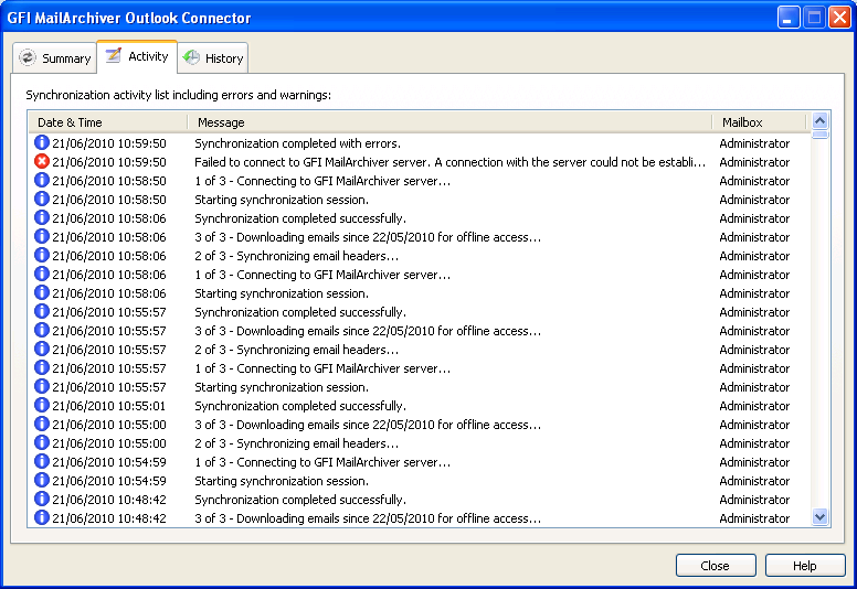 Screenshot 9 Synchronization Activity List By default, the last 1000 synchronization activity events are recorded. To modify the number of synchronization activity events shown: 1.