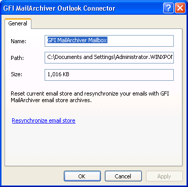 4.3 Database Settings GFI MailArchiver Outlook Connector stores the following data in a local database:» Email headers of all emails within the GFI MailArchiver mail archives» Emails which are