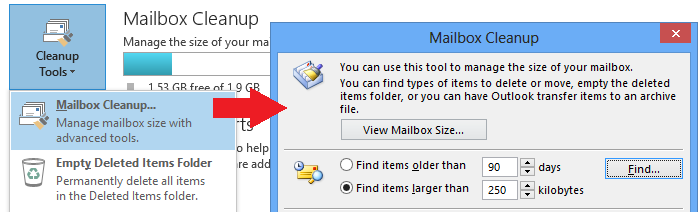 Checking Email Storage In Outlook, in the top left hand corner, click on the File tab.