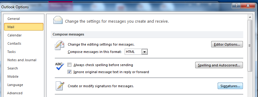 Creating Personal Signatures You can use Office Outlook 2010 to create a signature, similar to a signature in a letter, which is added to the end of your messages. To create a personal signature 1.