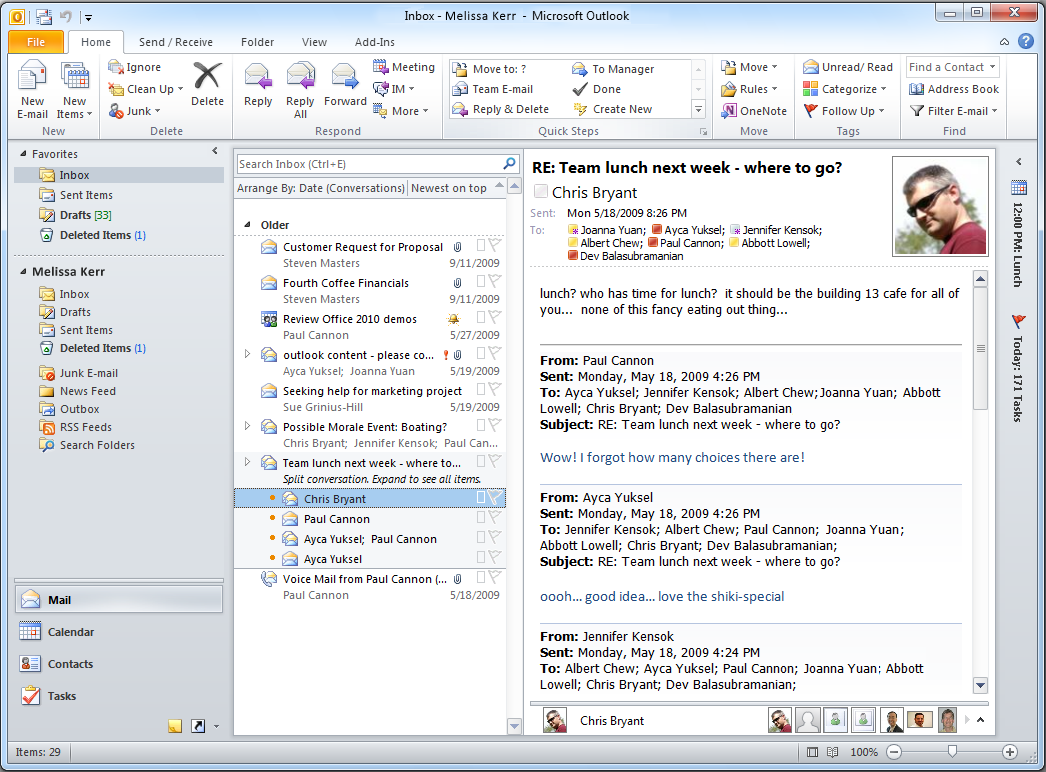 Mail Mail in Office Outlook 2010 stores incoming and outgoing e-mail messages in different folders, has a search feature to help you find specific messages, and enables you to preview e-mail