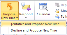 3. In the Propose New Time dialog box, do one of the following: Drag the green start time line to your proposed start time, and then drag the red end time line to your proposed end time.