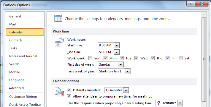 You can modify the reminder to be earlier or later than 15 minutes. 3. Click OK.