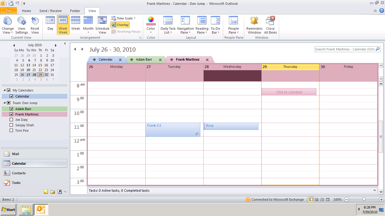 In the Calendar Navigation Pane, right-click the calendar you want to view, and then in the View tab click Overlay.