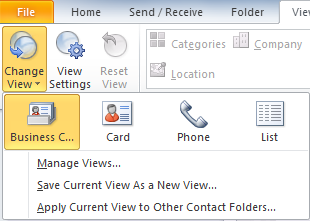 Viewing Contacts You can view your contacts in Office Outlook 2010 in various views, which are available in the Navigation Pane.