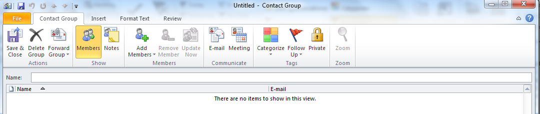 3. Click Save and Close. Creating Contact Groups A contact group is a contact that contains several e-mail addresses. Contact group make it easier to send messages to a group of contacts.