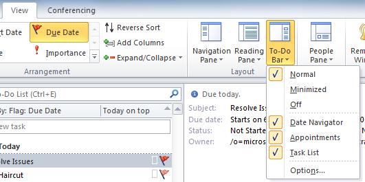 Tasks Tasks in Office Outlook 2010 can help you manage your workload. You can sort tasks in the To-Do List according to your needs. The following figure identifies the Tasks features.
