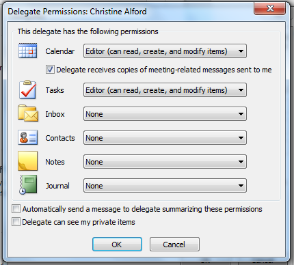 If a delegate needs permission to work only with meeting requests and responses, the default permission settings, including Delegate receives copies of meeting-related messages sent to me, are