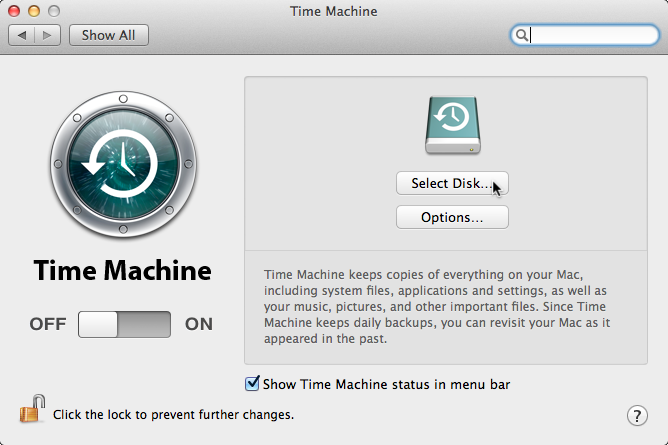 On the Dock, click Application folder choose Time Machine Select Set Up Time Machine In