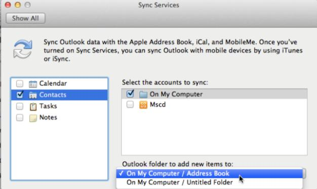 NOTE For each item type that you want to sync, you must select the accounts and the Outlook folder to add new items to Close the Sync Services dialog box, Depending on the