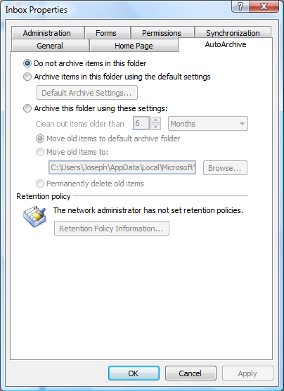 Personal & Private Folders 11.2- Setting AutoArchiving for Folders: With all Outlook folders you can set AutoArchiving options.