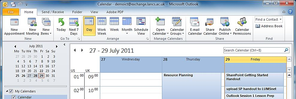 USING CALENDAR VIEWS You can view your calendar in several different ways: 1. Daily View From the Calendar s Home tab, click Day 2.