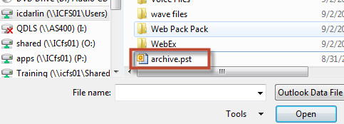 Open Archived Folders If you are working in an organisation and accessing Outlook from a different computer to the one you usually use (where the original archive was created or if you receive a new