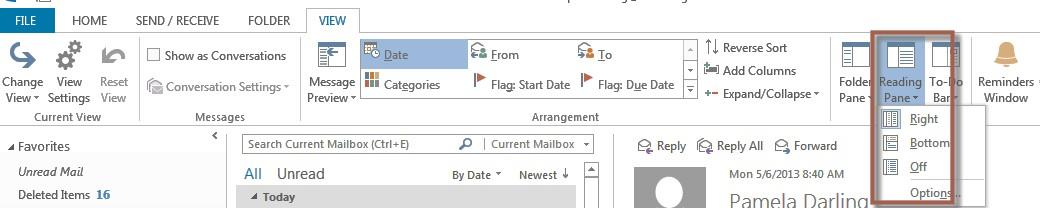 Inbox Reading Pane Messages appear in the Reading Pane which is located (by default) in Office 2013