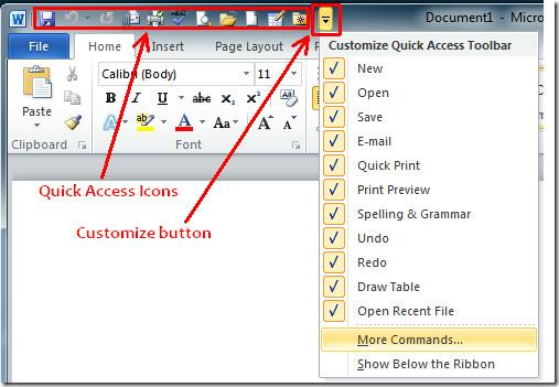 Once enabled, you will find their icons in the Quick Access Toolbar. Technically, any command can be added to the Quick Access Toolbar.