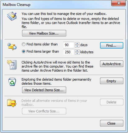 For previous versions of Outlook or as an alternative, you can also use the Mailbox Cleanup tool.