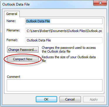 o Outlook 2010 and Outlook 2013 File-> Account Settings-> Account Settings -> tab Data Files 2. Double click on the pst-file that you wish to compact. 3.