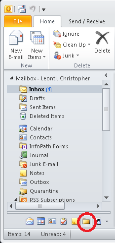 Changing Your Outlook View To Folder List By default Outlook shows folders related to the feature you are using.