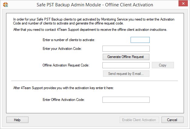 Once yu successfully enabled the ffline client activatin, yu will be able t activate Safe PST Backup clients by pressing the Activate ptin n the cntext menu n any client(s) selected.