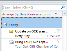Viewing Your Inbox Options for arranging messages Expand and collapse the list of
