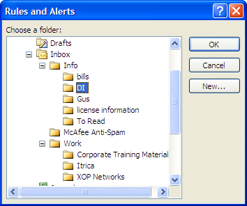 b. Outlook opens the RULE ADDRESS window, which lists your contacts. c. Highlight a contact and select FROM. d. Select OK. e.