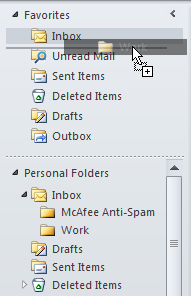 Viewing Favorite Folders Expand or collapse the Favorite group by clicking on the arrow next to the