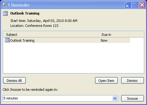 Managing Reminders Outlook opens the Reminder window at the time specified when you set up an appointment. Highlight the desired appointment.