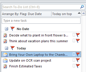 Editing a Task Once you have saved a task, you can see the subject on the To-Do Bar.
