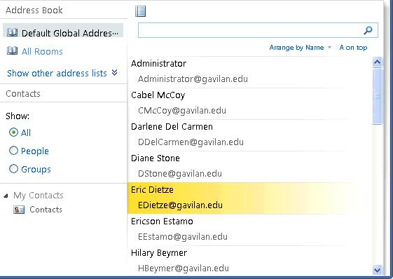 Contacts Accessing Contacts There are two ways to access contacts in OWA: The Contacts menu item in the bottom left will open your personal contacts list.