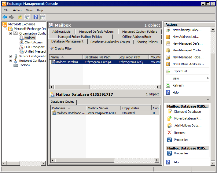 8.2.3 Microsoft Exchange Server 2010 Disabling standard journaling 1. Launch the Microsoft Exchange Management Console. Screenshot 52 - Configuring a Mailbox Database 2.
