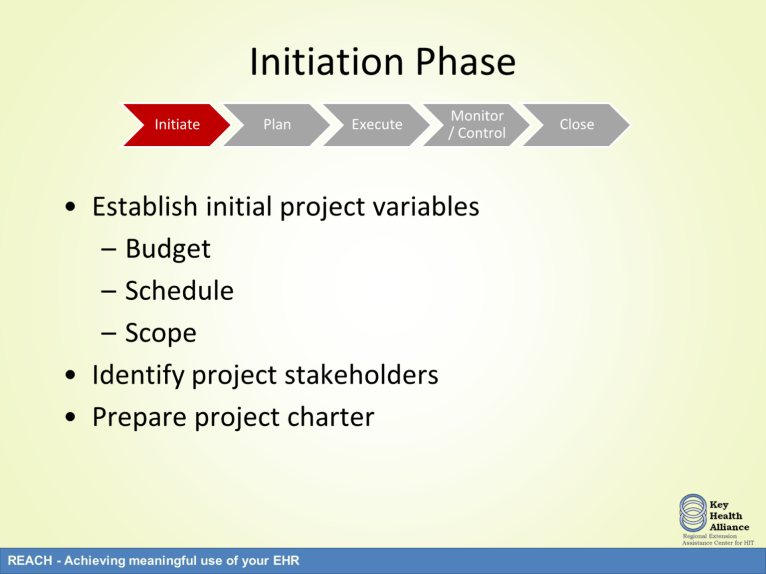 The first phase is the initiation phase. During the initiation phase, the project is defined in terms of scope of work, the estimated schedule, and the planned budget.
