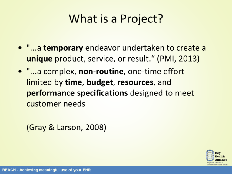 Here are two definitions of the term project. The first definition states that a project is a temporary endeavor undertaken to create a unique product, service, or result.