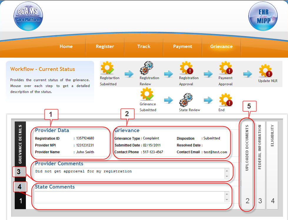 Figure 113. emipp Grievance and Appeal State User Tracking and Documentation.