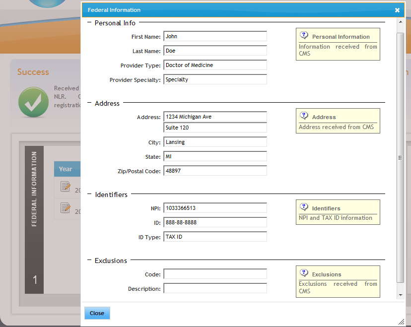 Figure 89. Provider Registration and Attestation Pop-up. EP CMS/NLR information for provider to validate.