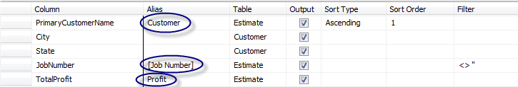 C. In the Estimate table, select JobNumber, PrimaryCustomer and Total Profit. In the Criteria pane, add <> to the Filter column box for JobNumber, as we did in our previous exercise. D.