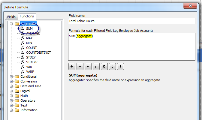 C. Click the Functions tab and expand Aggregate by