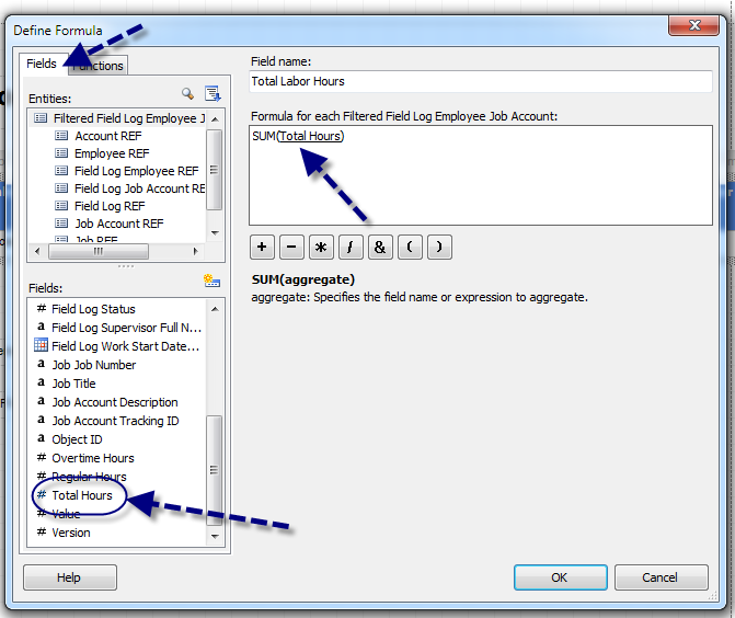 D. In the Define Formula dialog box, click on the Fields tab.