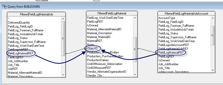 J. The Add Tables dialog box will open. Add the following tables to the Microsoft Query tool: FilteredFieldLogMaterielJob, FilteredFieldLogMaterial and FilteredFieldLogMaterialJobAccount. K.