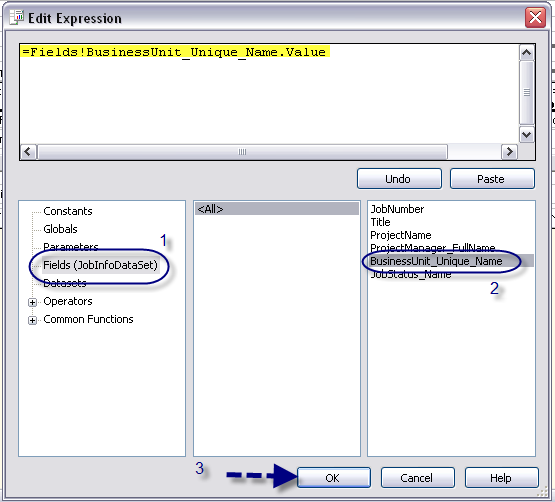 T. In the Edit Expression dialog box, click on Fields (JobInfoDataSet) in the column on the left. In the column on the right, double-click on BusinessUnit_Unique_Name.